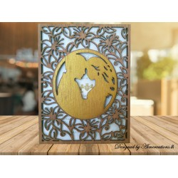 wooden couple card with...