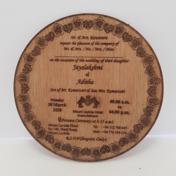 Round laser engraved card